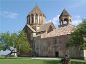 The Gandzasar Monastery: courtyard with mulberry trees.